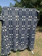 Jacquard Overshot Indigo Coverlet 1800s Wool Cotton Blanket Twin 68x90 Antique