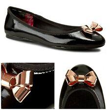 Ted Baker Imme 2 Black Black Patent Rose Gold Metal Bows Ballet Flats US 9M