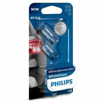 PHILIPS WHITE VISION W5W, 501 SIDE LIGHT BULBS. PAIR.. TWIN PACK