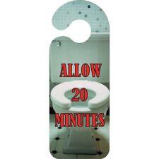 Allow 20 Minutes Bathroom Door Hanger - Sign Novelty Toilet Funny Handle