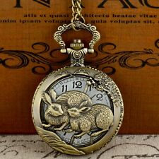 Retro Bronze Rabbit Theme Pocket Watch Quartz Necklace Hollow Pendant Steampunk