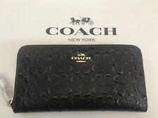 Coach Signature Debossed Patent Leather Accordion Zip Wallet F54805