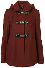 Topshop Oxblood Metal Clasp Hooded Coat Outerwear Jacket UK 8 EURO 36 US 4 BNWT