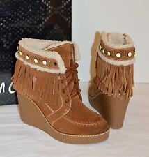New Sam Edelman Kemper Mocha Brown Suede Fringe Wedge Platform Ankle Boots 7.5
