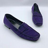 Stuart Weitzman 32348 Women Purple Suede Slip On Loafer Shoe Size 8N Pre Owned