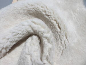 sheepskin leather hide Off White Long Thick Toscana Silky Hair w/Smooth back