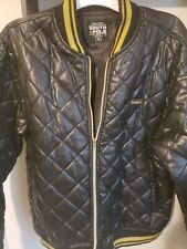 Men's ~SOUTHPOLE~ Black Gold Silky Puff Bomber Jacket Authentic Collection Sz M