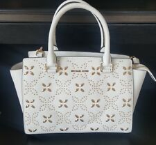 05eb4084dc7504 Michael Kors Selma Medium Top Zip Satchel Optic White Studded Gold Floral  Bag