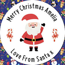 24 CUSTOM Christmas Santa Personalised Stickers Labels GIFT wrap Seals Stickers