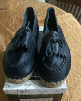 Women's Black Leather Shoes By Passports Size 11 Slip On Loafers NEW
