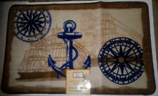 "Popular Bath Nautical Ocean Life Hand Carved Bath Mat 29"" x 32"" Blue Tan"