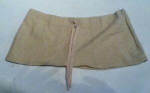 7 3/4 Inch length Beige Linen Blend Micro Mini Holiday Bikini Skirt Size 12