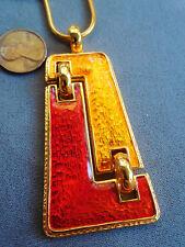 Vintage NOS quality modernist mid century gold red enamel gt necklace 18