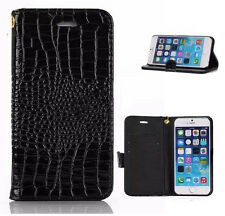 Genuine Crocodile Leather Wallet Flip Case Cover for Apple iPhone 5s SE 6 6Plus
