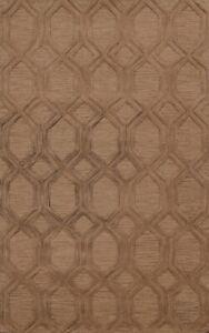 Contemporary Brown Trellis Oriental Area Rug Modern Hand-Tufted Wool Carpet 5x8