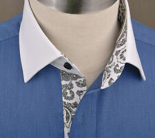 Navy Blue Business Dress Shirt Paisley Formal French Double Cuffs Size 39 Small