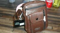 Mens Brown Leather Shoulder/Wrist Bag From Lorenz New And Tagged