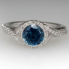 BEZEL SET NO HEAT SAPPHIRE & DIAMOND HALO BYPASS 925 SILVER ENGAGEMENT RING+GIFT