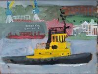 ORIGINAL Öl auf Karton Schlepper Schiff boat Bild Picture Abstrakt  Salon NEU