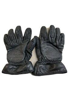 Mens Harley Davidson Leather Gloves With Zipper For Detachable Gauntlet