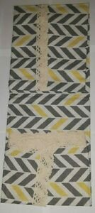 "SQUARE LACE BORDER TABLE CLOTH RUNNER GREY/YELLOW STRIPE & CREAM LACE 54x54"" uns"