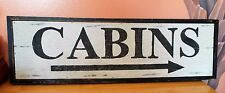 "Wooden Rustic Primative Camping Cabins Arrow Sign. 23"" x 7.5"""