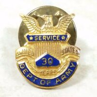 Department Of The Army 30 Years Of Service Pin Award 1/10 10k Gold Plated