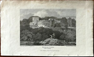 S. Prout Farleigh Castle Somersetshire Small Antique Print