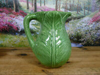 "Olfaire Pottery P438 Green Leaf Water Pitcher 8 1/2"" Tall Portugal"