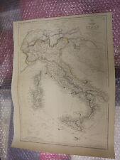 Mapa De Italia Swizerland Tirol Alpes general despacho Atlas 1863 J. brega Enmarcado 20 más