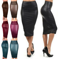 Sexy Women Knee Pencil Bodycon Midi Skirt PU Leather High Waist Party Dress