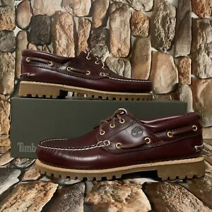 MEN'S SHOE TIMBERLAND AUTHENTIC HANDSEWN BOAT SHOE BURGUNDY STYLE 050009 Sz:12M