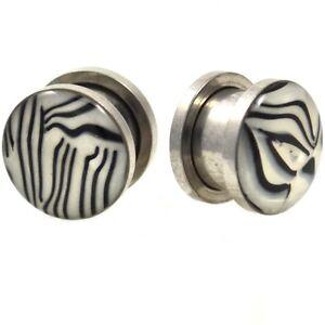 PAIR BLACK/WHITE ZEBRA STRIPE SHELL STEEL EAR PLUGS SCREW-FIT GAUGES (6mm-20mm)