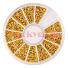 2400Pcs Gold Nail Art Mini Beads Balls Pearls Caviar Tips DIY Decorations Wheel