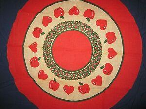 """APPLES & HEARTS VTG Burlap Christmas Tree Skirt or Table Center 50"""" Across"""