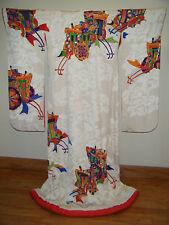 Authentic White Silk Japanese Uchikake Wedding Kimono w/ Gold Couching & Yuzen