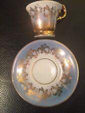 Elegant Vtg. German Porcelain PM Pale Blue Gold Demitasse Cup Set