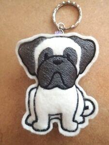 Pug keyring - handmade