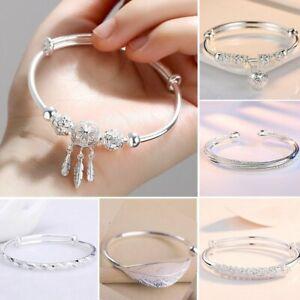925 Silver Dreamcatcher Lucky Beads Charm Cuff Bracelet Bangle Women Adjustable