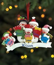 FAMILY OF 5 PERSONALIZED SNOWMAN CHRISTMAS TREE ORNAMENT HOLIDAY HOME DECOR