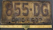 1937 Vintage Original OHIO License Plate 855-DG