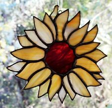 FREE FLOWING Large SUNFLOWER Stained Glass ARTISAN LIGHT SUNCATCHER Floral Gifts