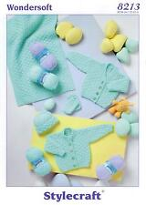Stylecraft 8213 Knitting Pattern Babies Cardigan Hat Mittens Blanket in DK