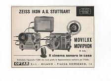 Pubblicità 1956 ZEISS IKON MOVILUX MOVIPHON VIDEO advertising reklame werbung