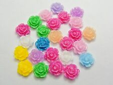 100 Mixed Color Flatback Resin Floral Flower Cabochons 9mm DIY Craft