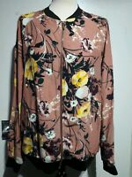 M&S Collection Floral Print Bomber Jacket Pink Mix Size 12 UK Zip Up