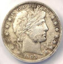 1903-S Barber Half Dollar 50C - ANACS AU50 Details - Rare Date - Certified Coin