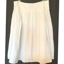 Ecologie White Linen Skirt 10 Boho Festival Gypsy Beach Embroidered Lined