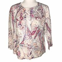 Chico's Paisley Zip Up Lightweight Linen Jacket Pink, White, Purple, Blue Women