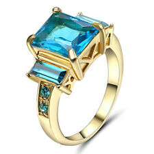 Gorgeous Blue CZ Aquamarine Wedding Ring 10KT Yellow Gold Filled Women's Size 7